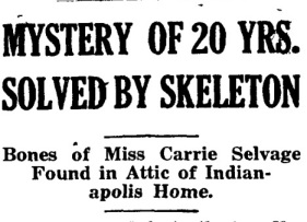 Carrie Selvage skeleton 1920 headline